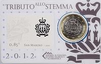 San Marino : 1 Euro Mini-Kit mit 85ct Briefmarke  2012 vz/Stgl.