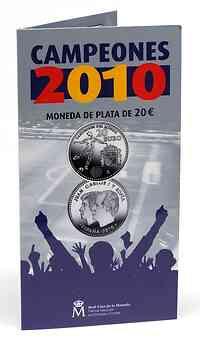 Spanien : 20 Euro Fußball Weltmeister  2010 Stgl.