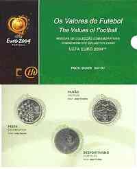 Portugal : 24 Euro I. Ausgabe 3 x 8 Euro zur Fußball EM Portugal 2004  im Originalblister  2003 Stgl.