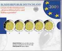 Deutschland : 2 Euro Set im Originalblister 5 x 2 Euro 10 Jahre Euro  2009 PP