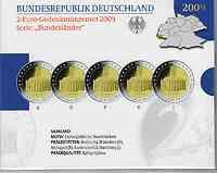 Deutschland : 2 Euro Saarland : Ludwigskirche in Saarbrücken Komplettsatz im Originalblister 5 x 2 Euro  2009 PP