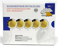 Deutschland : 2 Euro Bayern - Schloss Neuschwanstein Komplettsatz 5x2 Euro 2012 PP