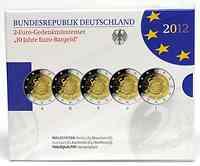 Deutschland : 2 Euro 10 Jahre Euro Bargeld Komplettsatz 5x2 Euro  2012 PP Blistersatz 10 Jahre Euro Bargeld 2012