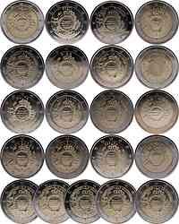 International : 2 Euro 21 x 2 Euro 10 Jahre Euro Bargeld (Belgien, Deutschland A-J, Estland, Finnland, Frankreich, Griechenland, Irland, Italien, Luxemburg, Malta, Niederlande, Österreich, Portugal, Slowakei, Slowenien, Spanien, Zypern)  2012 bfr