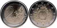 Spanien : 2 Euro 10 Jahre Euro Bargeld  2012 bfr