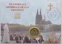Vatikan : 2 Euro Weltjugendtag Köln / Kölner Dom mit Briefmarken  2005 vz/Stgl. 2 Euro Vatikan 2005
