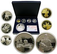 Spanien : 480 Euro Komplettsatz Gold (1 x 400 Euro Sancho Pansa) + Silber (3x 10 Euro + 1x 50 Euro), inkl. Originaletui und Zertifikat  2005 PP