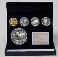 Spanien : 480 Euro Komplett-Set aus : 3x 10 Euro + 1x50 Euro in Silber und 400 Euro in Gold  2009 PP