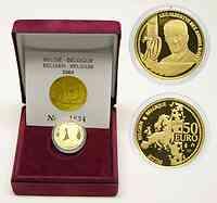 Belgien : 50 Euro 70. Geburtstag Albert II. inkl. Originaletui und Zertifikat  2004 PP
