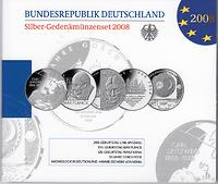 Deutschland : 50 Euro 5x 10 Euro - Ausgaben aus Deutschland des Jahres 2008 (Spitzweg, Planck, Kafka, Gorch Fock, Himmelsscheibe)  2008 PP
