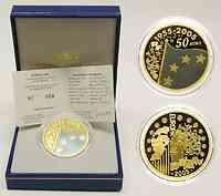 Frankreich : 50 Euro Europa-Münze - blaues Gold, incl. Originaletui und Zertifikat  2005 PP