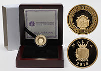 Malta : 50 Euro Auberge d'Italie inkl. Originaletui und Zertifikat  2010 PP