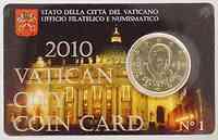 Vatikan : 50 Cent im Originalblister  2010 Stgl. Coincard Vatikan 2010