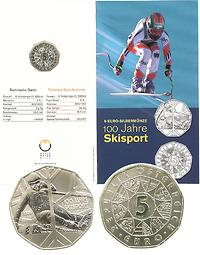 Österreich : 5 Euro Skisport im Originalblister  2005 Stgl.