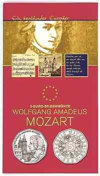 Österreich : 5 Euro Mozart im Originalblister  2006 Stgl. 5 Euro Mozart