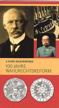 Österreich : 5 Euro Wahlrechtsreform im Originalblister  2007 Stgl. 5 Euro Wahlrechtsreform