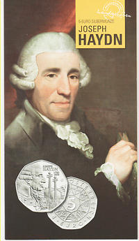 Österreich : 5 Euro 200. Todestag Joseph Haydn im Originalblister  2009 Stgl. 5 Euro Haydn 2009