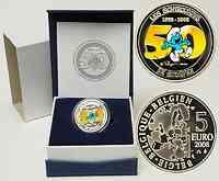 Belgien : 5 Euro Die Schlümpfe farbig inkl. Originaletui und Zertifikat 2008 PP