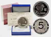 Frankreich : 5 Euro Chanel inkl. Originaletui und Zertifikat  2008 PP 5 Euro Chanel Silber