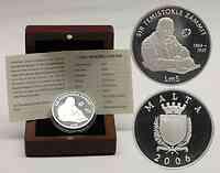 Malta : 5 Mtl Sir Temistokle Zammit inkl. Originaletui und Zertifikat  2006 PP Sir Temistokle Zammit