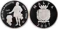 Malta : 5 Mtl Jean de La Valette inkl. Zertifikat und Originalkapsel  2007 PP