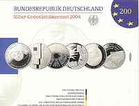 Deutschland : 60 Euro 6x 10 Euro - Ausgaben aus Deutschland des Jahres 2004 (Wattenmeer, Bauhaus, Fußball WM, EU_Erweiterung, ISS, Mörike)  2004 PP