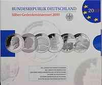 Deutschland : 60 Euro 6 x 10 Euro Ausgaben aus Deutschland des Jahres 2010 (Schumann, Zuse, Porzellanherstellung, Einheit, Eisenbahn, SKI WM)  2010 PP