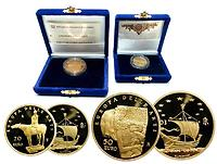 """Italien : 70 Euro Set aus 2 Goldmünzen : 20 Euro """"Reiter"""" + 50 Euro Drei Lebensalter einer Frau  2003 PP"""