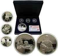 Spanien : 80 Euro Silber-Set : 3x10 Euro + 1x50 Euro, inkl. Originaletui und Zertifikat  2005 PP