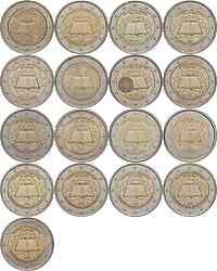 International : 2 Euro Römische Verträge, Set aus 16 Münzen = 12 Länder : Belgien, Deutschland (A,D,F,G,J), Finnland, Frankreich, Griechenland, Irland, Italien, Luxemburg, Niederlande, Österreich, Portugal, Spanien  2007 vz. 2 Euro Römische Verträge
