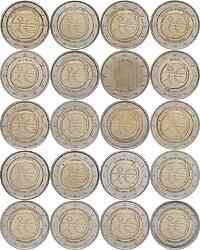 International : 2 Euro 10 Jahre Euro, Set aus 20 Münzen = 16 Länder : Belgien, Deutschland (A,D,F,G,J), Finnland, Frankreich, Griechenland, Irland, Italien, Luxemburg, Niederlande, Malta, Österreich, Portugal, Slowakei, Slowenien, Spanien, Zypern  2009 bfr Komplettkollektion 2-Euro-Gedenkmünzen WWU