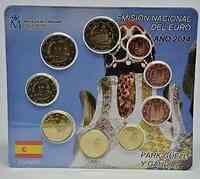 Spanien : 5,88 Euro KMS Spanien mit 2 Euro Gedenkmünze Park Güell - Antonio Gaudi  2014 Stgl.