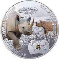 Niue : 1 Dollar Gefährdete Tiere - Spitzmaulnashorn - farbig  2014 PP