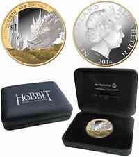 Neuseeland : 1 Dollar Der Hobbit/Die Schlacht der fünf Heere/Drache Smaug teilvergoldet  2014 PP
