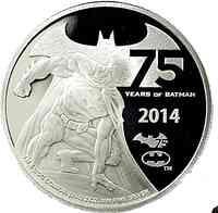 Niue : 5 Dollar 75 Jahre Batman 2 Oz  2014 PP