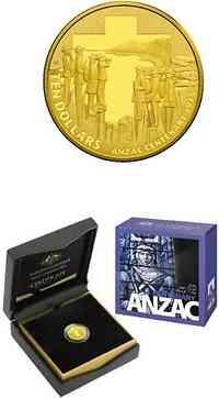 Australien : 10 Dollar 100 Jahre ANZAC 1/10 oz  2015 PP