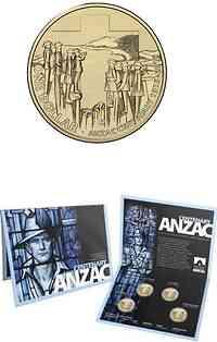 Australien : 4 Dollar 4x1 $ 2015 100 Jahre ANZAC - im Blister  2015 Stgl.