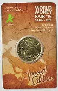 Australien : 1 Dollar Sonderausgabe World Money Fair - Ampelmännchen  2015 bfr