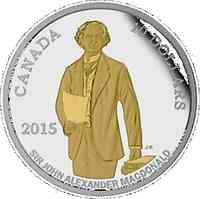 Kanada : 10 Dollar 200. Geb. Sir John A. Macdonald (Erster Premierminister) - vergoldet  2015 PP
