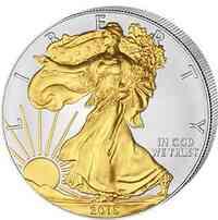 USA :   1 $ 2015 Silber Eagle 1 oz - teilvergoldet  2015 Stgl.