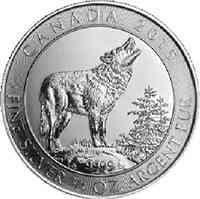 Kanada : 2 Dollar Grauer Wolf 3/4 oz  2015 Stgl.