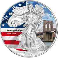 "USA : 1 Dollar Silber Eagle ""Brooklyn Bridge""  2015 Stgl."