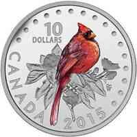 Kanada : 10 Dollar Farbenfrohe Singvögel - Roter Kardinal - farbig  2015 PP