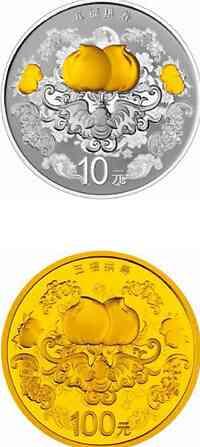 China : 110 Yuan Pfirsich - Set (Langlebigkeit) - 7,77 g Gold + 31,10 g Silber  2015 PP