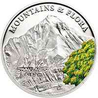 Palau Islands : 5 Dollar Dhaulagiri (Himalaya) - Berge und Blumen - farbig  2014 PP