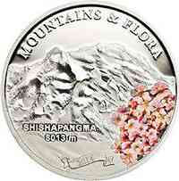 Palau Islands : 5 Dollar Shishapangma (Tibet) - Berge und Blumen - farbig  2014 PP
