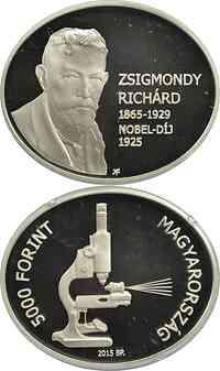 Ungarn : 5000 Forint Richard Zsigmondy - Nobelpreisträger (oval) - 30,0x25,0 mm 2015 PP