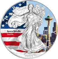 "USA : 1 Dollar Silber Eagle ""Space Needle""  2015 Stgl."