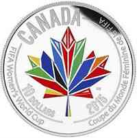 """Kanada : 10 Dollar FIFA Frauenfußball-WM """"Canada heißt die Welt Willkommen"""" - farbig  2015 PP"""