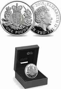 Großbritannien : 1 Pfund Königliches Wappen - Piedfort  2015 PP